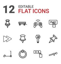 12 push icons vector