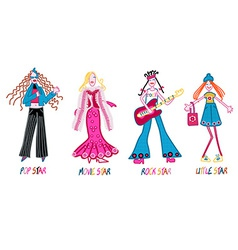 4 girls pop star movie star rock star and little vector image