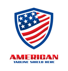 american flag shield logo vector image