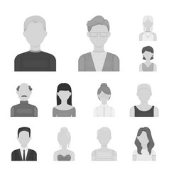 avatar and face monochrome icons in set collection vector image