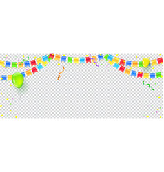 banner with streamers confetti and garlands of vector image