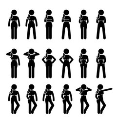 Basic woman standing postures and poses artworks vector