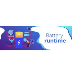 Battery runtime concept banner header vector