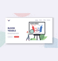 Blood vessels landing page template tiny doctor vector