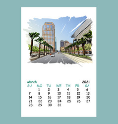 Calendar sheet march month 2021 year phoenix vector