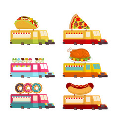 car food truck set fast food car collection taco vector image