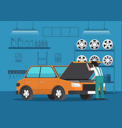 Car mechanic fixing car in auto repair garage vector