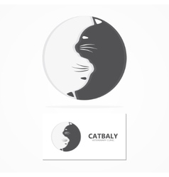cartoon cat logo Animal cat pets and shop vector image