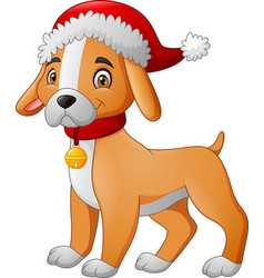 cartoon dog wearing a santa hat vector image