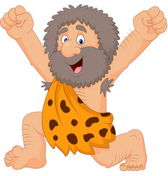 Cartoon happy caveman vector
