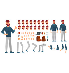 Cartoon male character kit man in casual clothing vector
