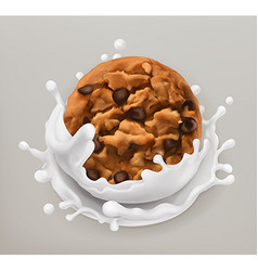 Chocolate cookies and milk splash Realistic 3d vector image