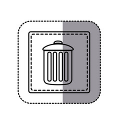 Contour emblem metal trash can icon vector