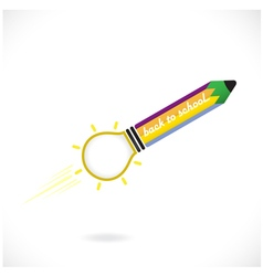 Creative pencil and light bulb icon vector