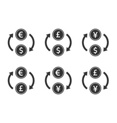 currency exchange icon set dollar euro yen vector image