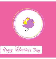 cute violet bird Happy Valentines Day vector image