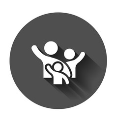 Family greeting with hand up icon in flat style vector