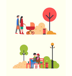 family people with pram couple working in park vector image
