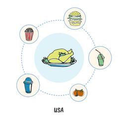 famous american symbols doodle concept vector image