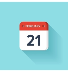 February 21 Isometric Calendar Icon With Shadow vector