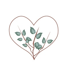 Fresh Green Leaves in Heart Shape Wreath vector image