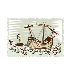Galleon sailing ship at sea with whale vector