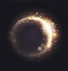 gold luminous spark ring light frame effect vector image