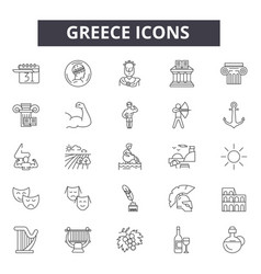 Greece line icons signs set linear vector