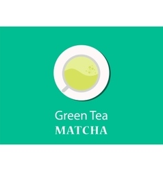 Green tea matcha concept with a glass vector