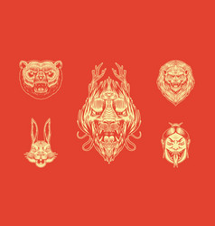 grizzly bear lion and hare screaming mad leo vector image