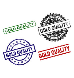 grunge textured gold quality seal stamps vector image
