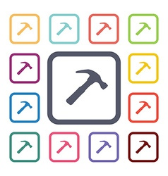Hammer flat icons set vector