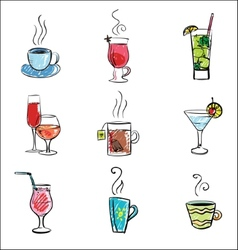 Hand drawn of drinks vector image