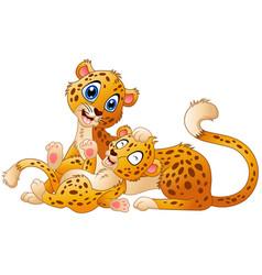 Happy adult cheetah with cub cheetah vector