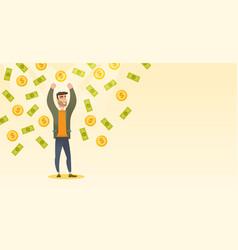 Happy busiessman under money rain vector