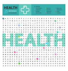 health thematic collection line icons vector image