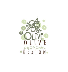 Image of some olives hand drawn with leaves vector