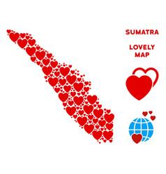 Lovely sumatra island map mosaic of hearts vector