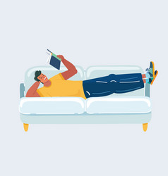man lay on sofa with book vector image