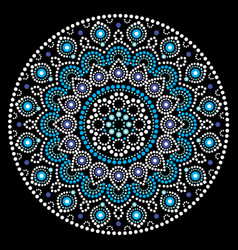 Mandala art australian dot painting white vector