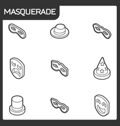 masquerade concept isometric icons vector image