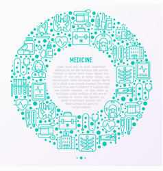 Medicine concept in circle with thin line icons vector
