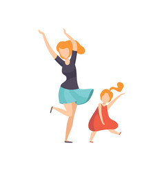 mom and daughter dancing girl having fun with her vector image