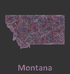Montana line art map vector