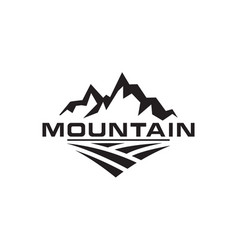mountain and field logo design template vector image