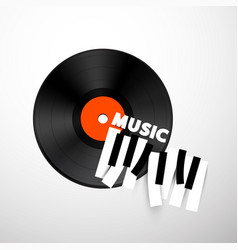 music design with lp vinyl disc and piano keys vector image