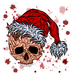 new year skull with splashes blood vector image
