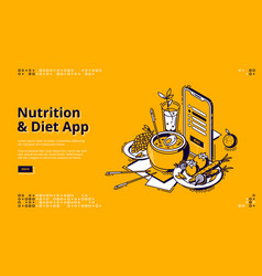 Nutrition and diet app isometric landing page vector