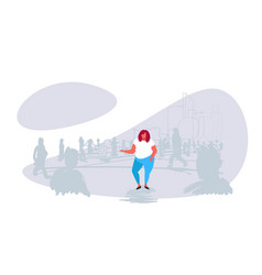 obese fat woman standing out from crowd people vector image