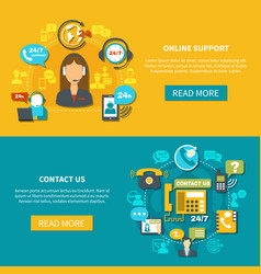 online support horizontal banners vector image